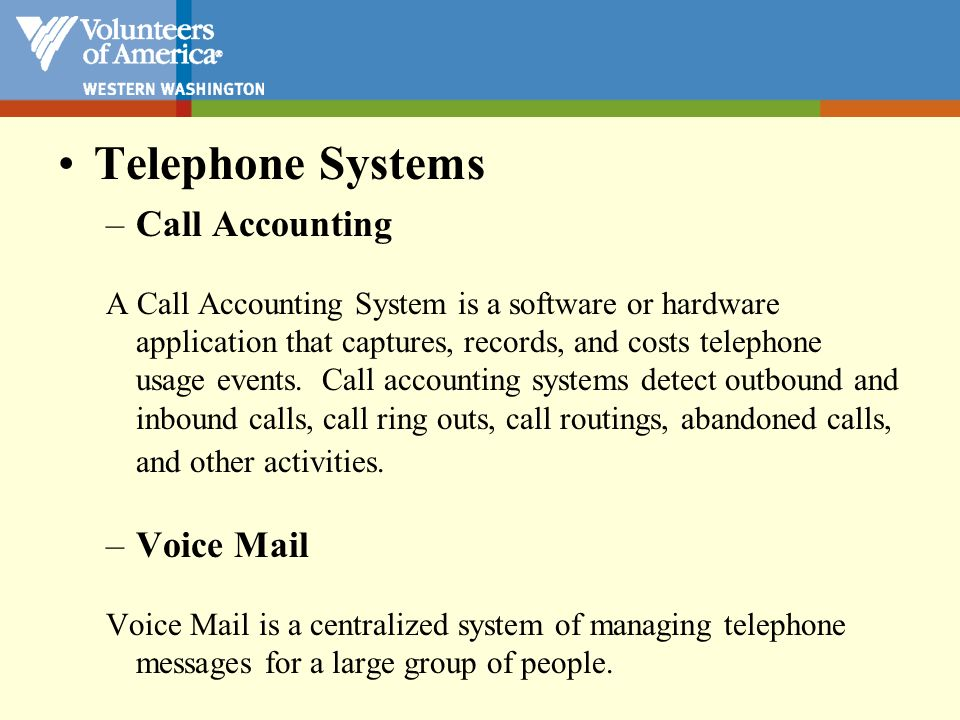 Telephone Systems Call Accounting Voice Mail