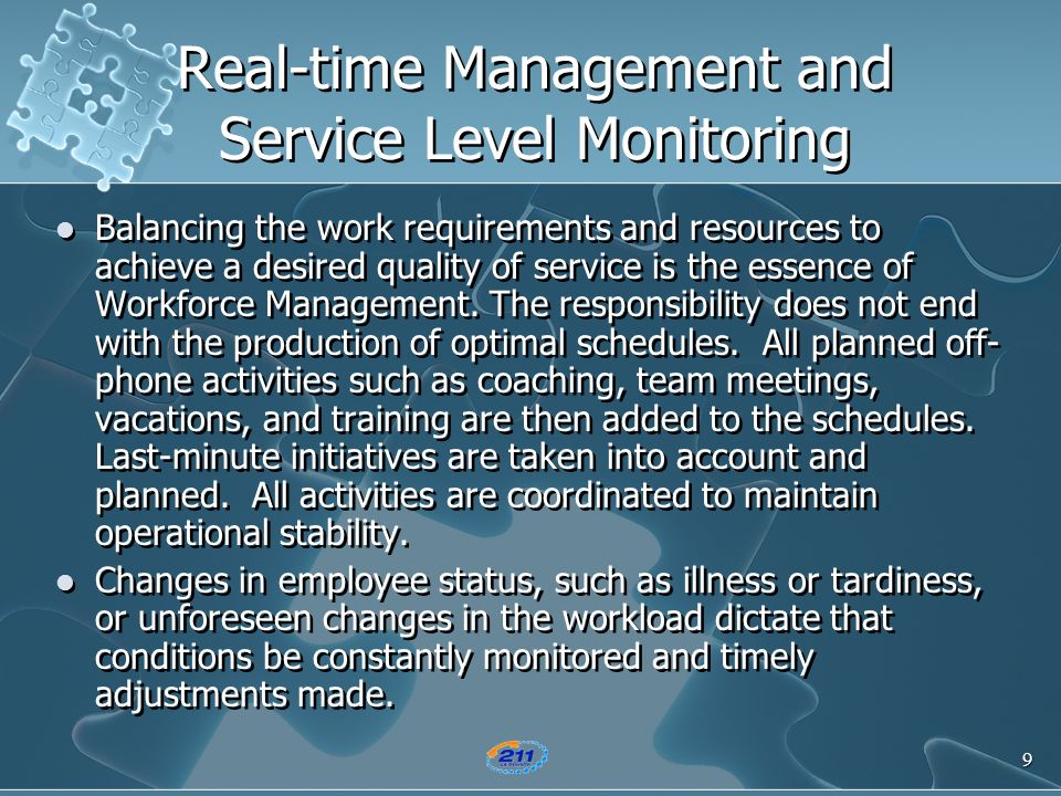 Real-time Management and Service Level Monitoring