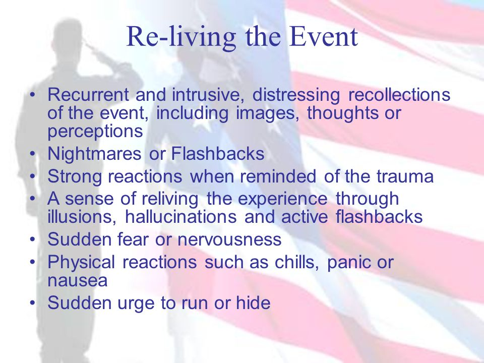 Re-living the Event Recurrent and intrusive, distressing recollections of the event, including images, thoughts or perceptions.