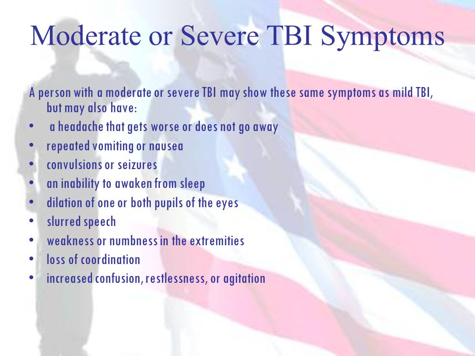Moderate or Severe TBI Symptoms