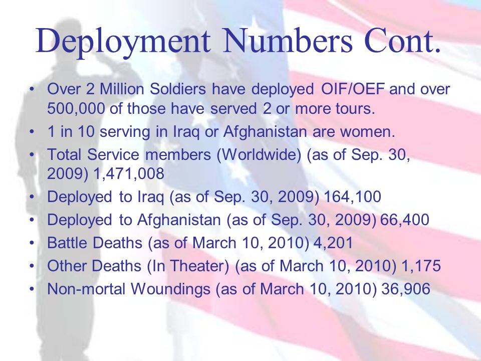 Deployment Numbers Cont.