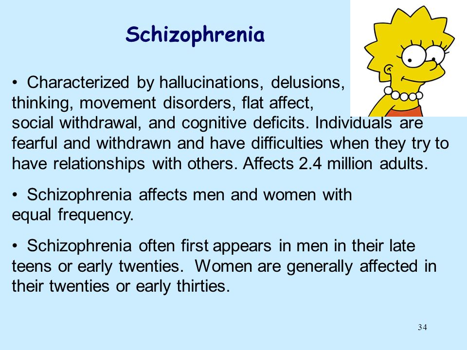 Schizophrenia Characterized by hallucinations, delusions, disordered thinking, movement disorders, flat affect,