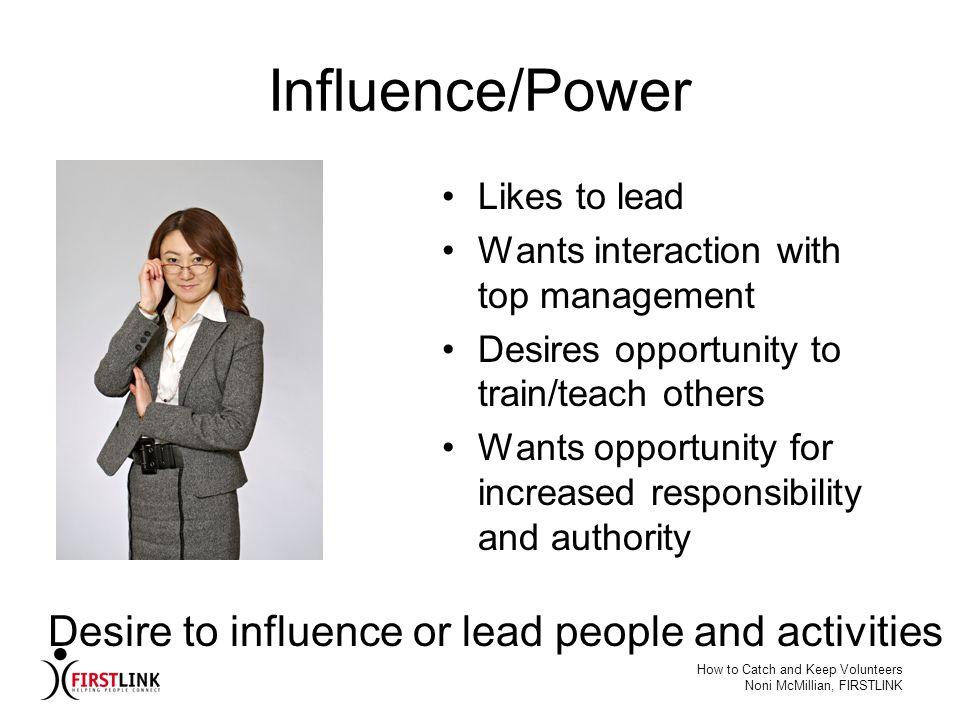 Influence/Power Desire to influence or lead people and activities