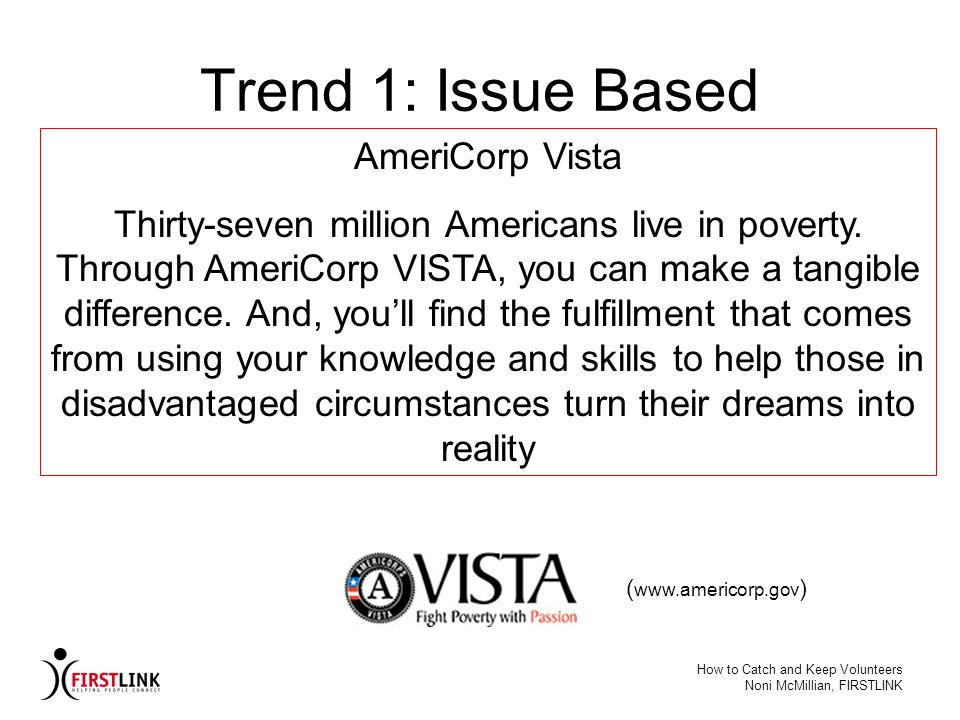 Trend 1: Issue Based AmeriCorp Vista