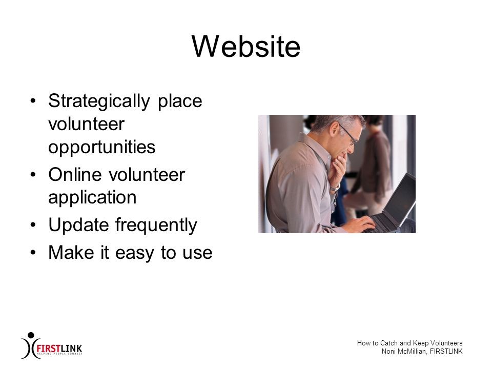Website Strategically place volunteer opportunities
