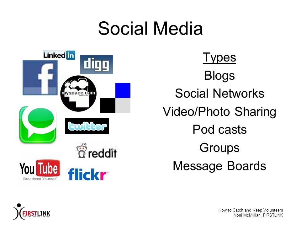 Social Media Types Blogs Social Networks Video/Photo Sharing Pod casts