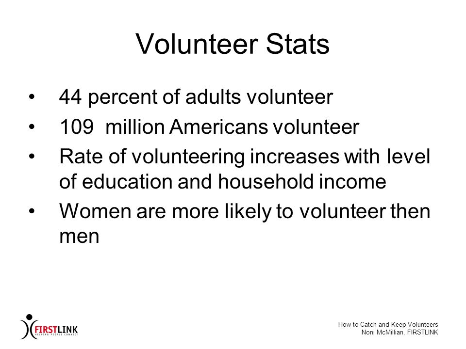 Volunteer Stats 44 percent of adults volunteer