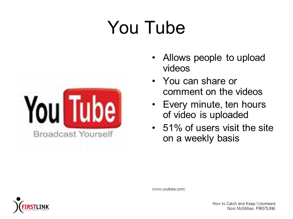 You Tube Allows people to upload videos