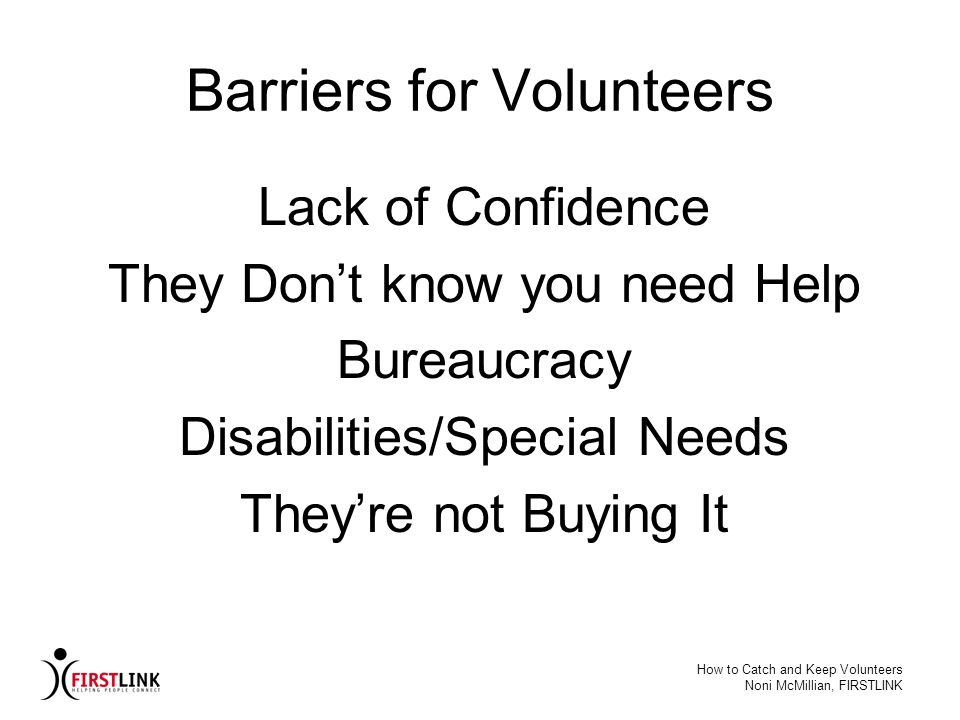 Barriers for Volunteers