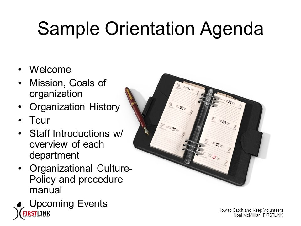 Sample Orientation Agenda