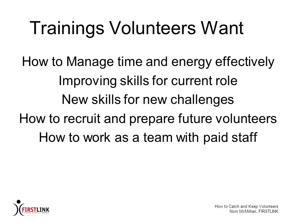 Trainings Volunteers Want