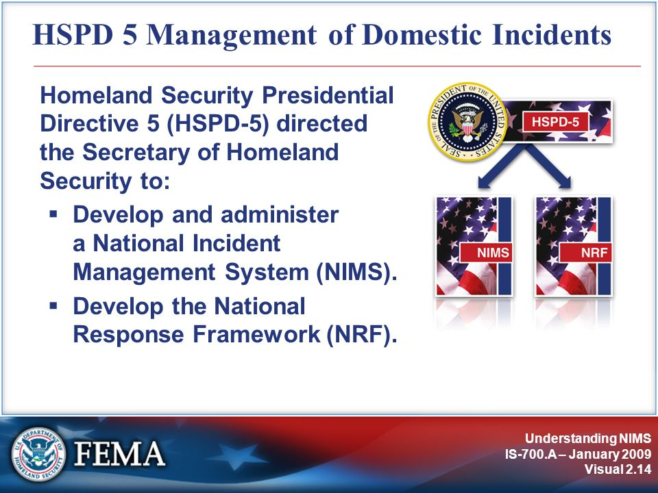 HSPD 5 Management of Domestic Incidents