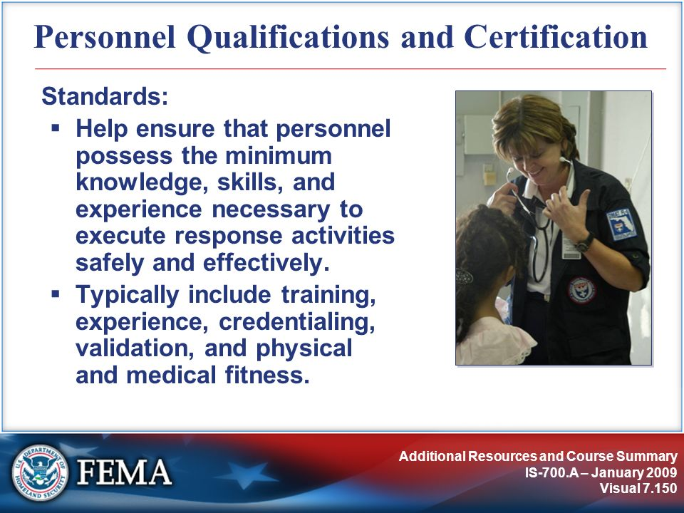 Personnel Qualifications and Certification
