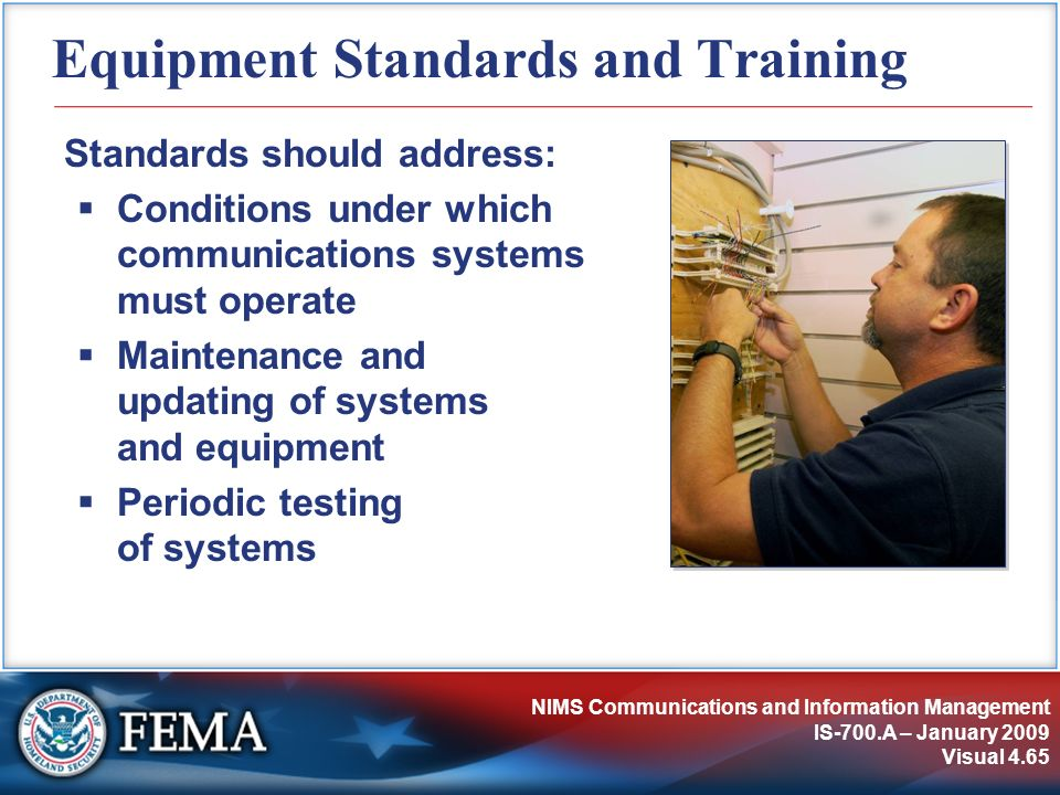 Equipment Standards and Training