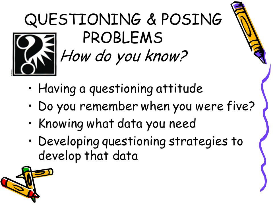 QUESTIONING & POSING PROBLEMS How do you know