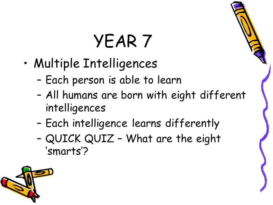 YEAR 7 Multiple Intelligences Each person is able to learn