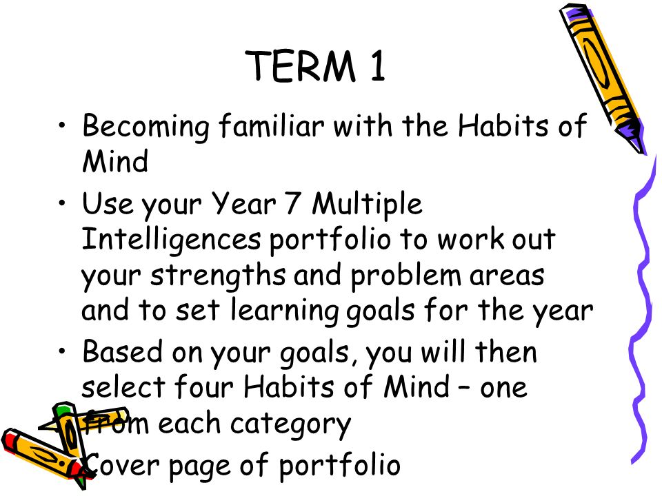 TERM 1 Becoming familiar with the Habits of Mind