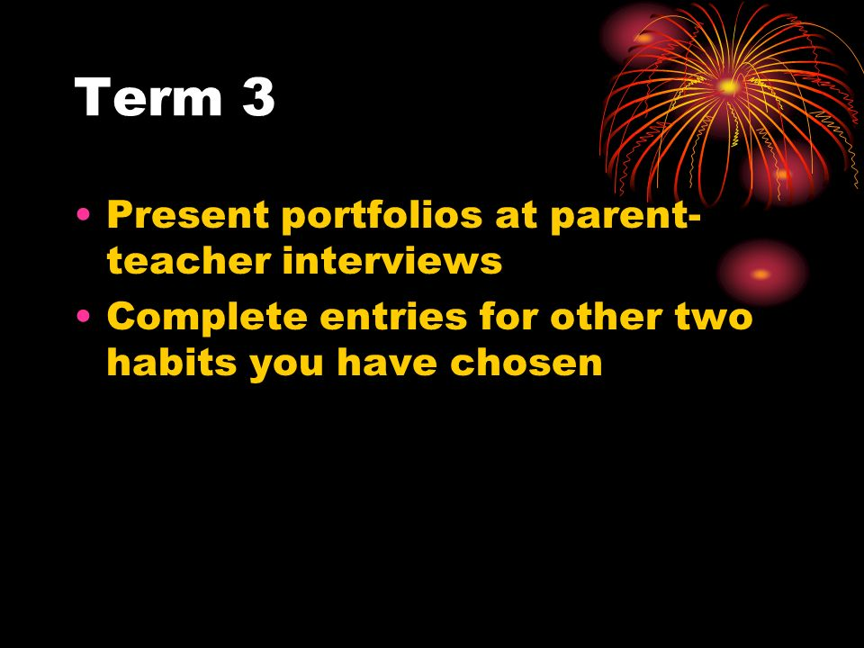 Term 3 Present portfolios at parent-teacher interviews