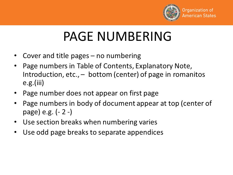 PAGE NUMBERING Cover and title pages – no numbering