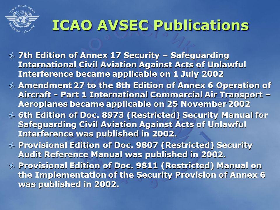 ICAO AVSEC Publications
