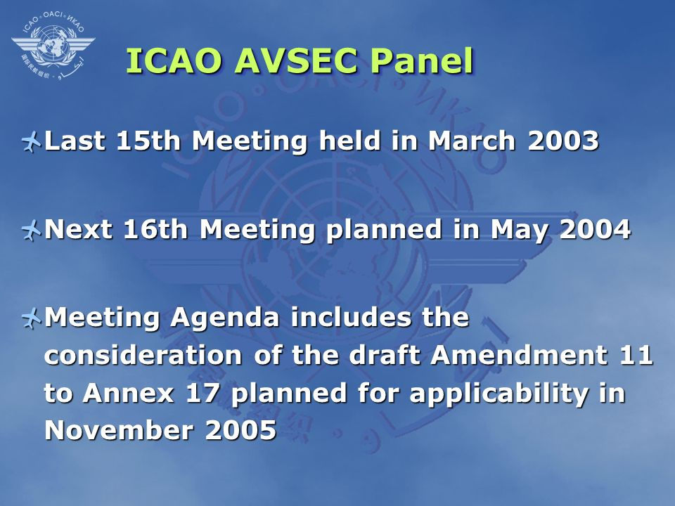 ICAO AVSEC Panel Last 15th Meeting held in March 2003