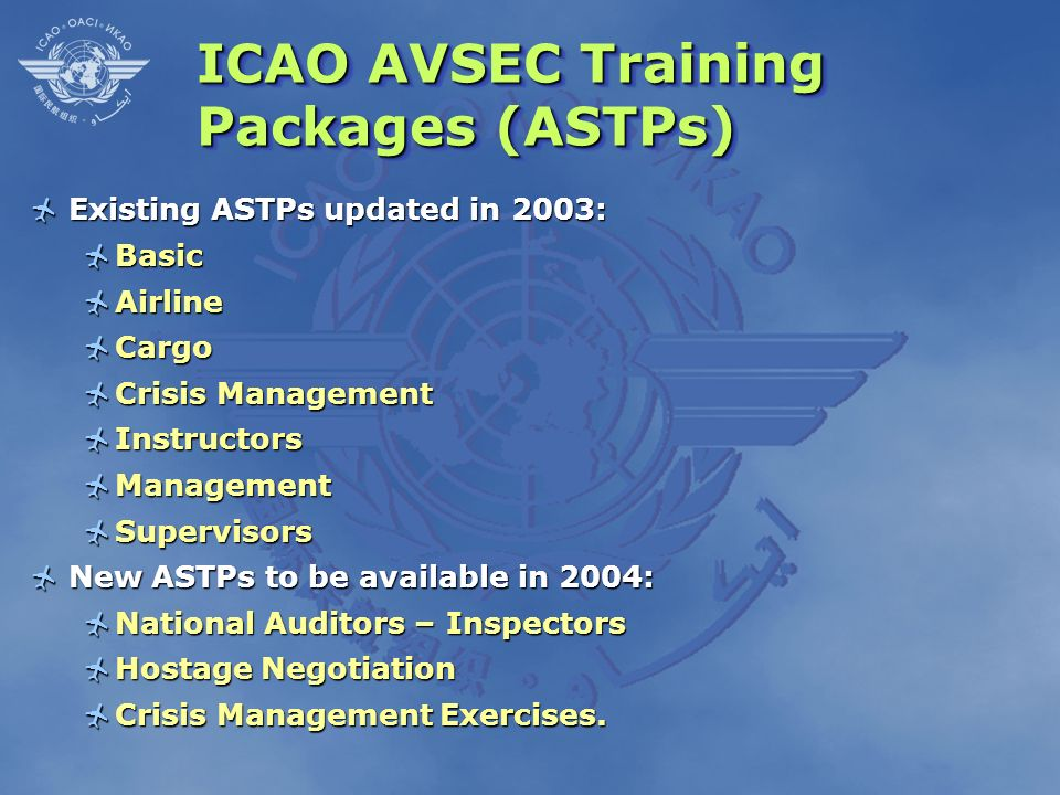 ICAO AVSEC Training Packages (ASTPs)