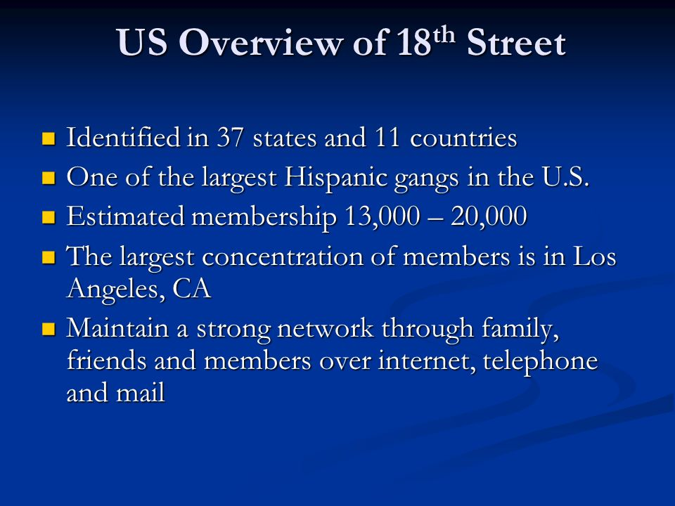 US Overview of 18th Street