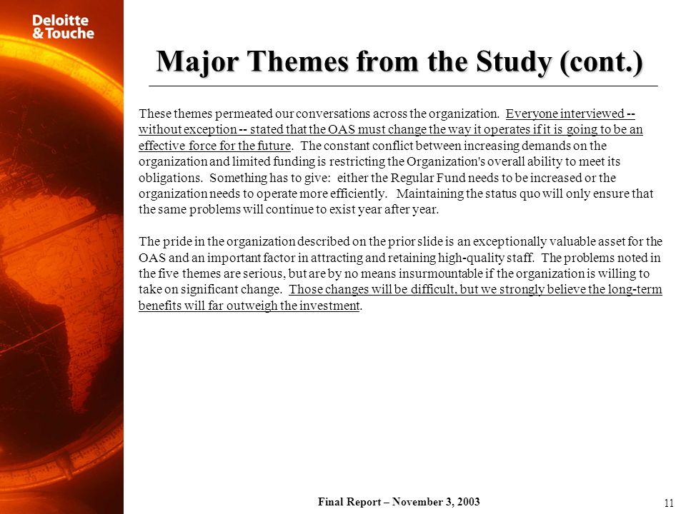 Major Themes from the Study (cont.)