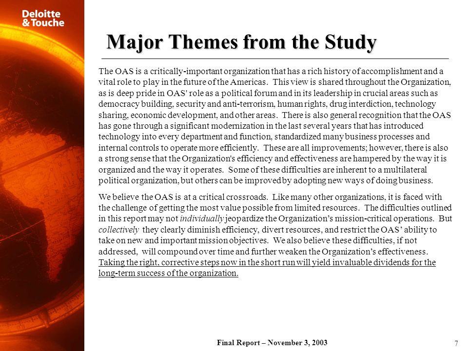 Major Themes from the Study