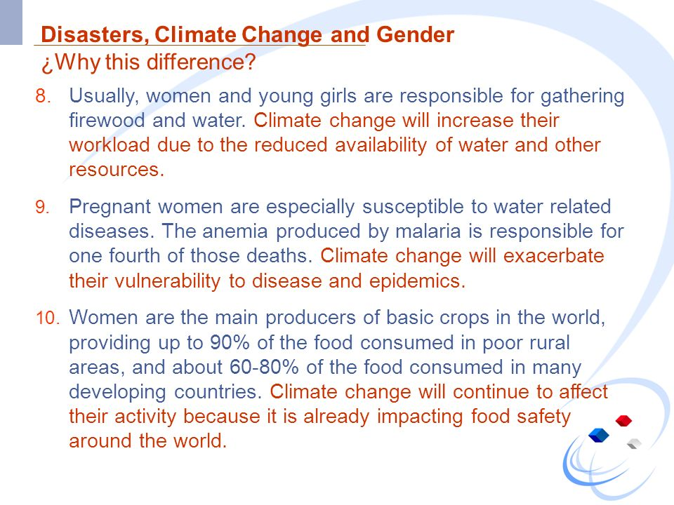Disasters, Climate Change and Gender ¿Why this difference