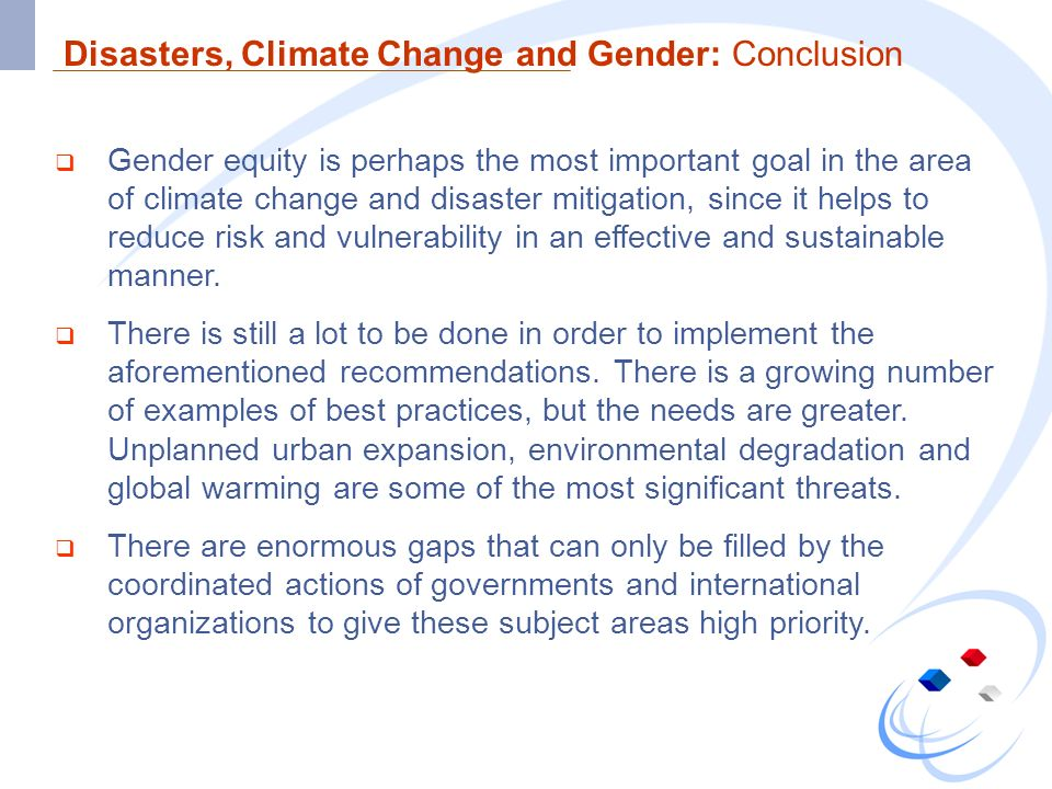 Disasters, Climate Change and Gender: Conclusion