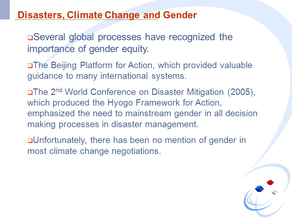 Disasters, Climate Change and Gender
