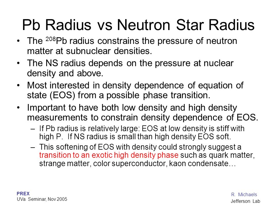 Pb Radius vs Neutron Star Radius