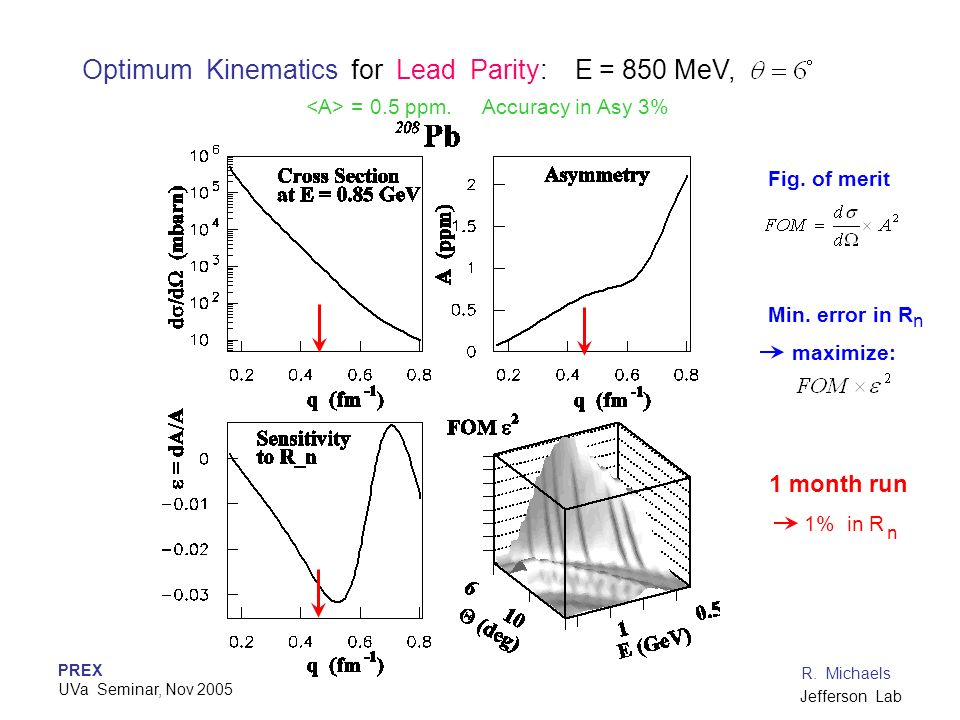Optimum Kinematics for Lead Parity: E = 850 MeV,