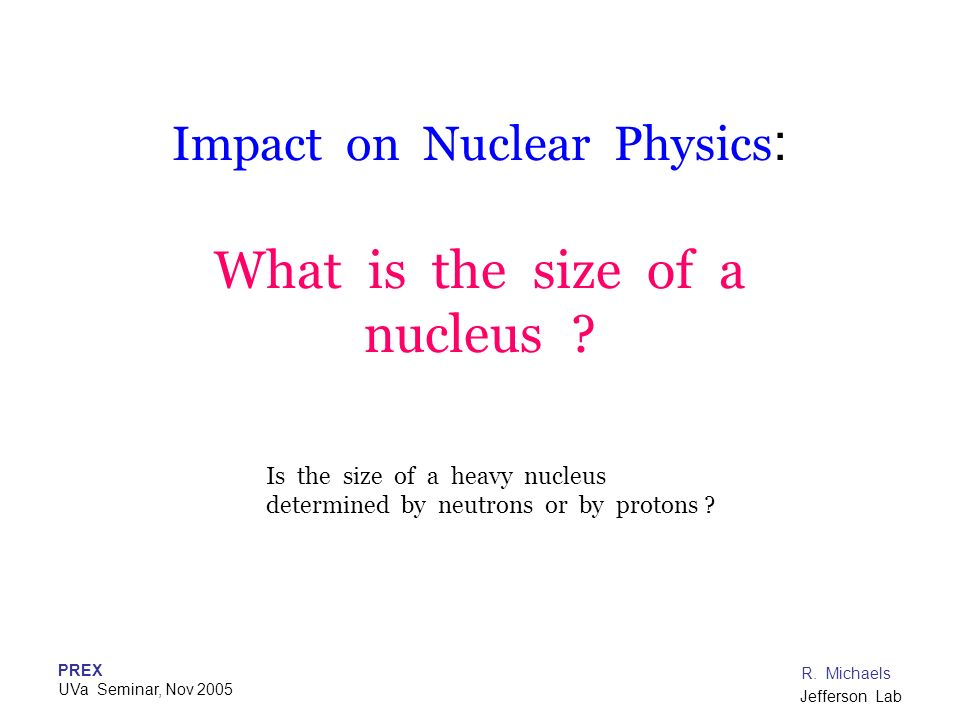Impact on Nuclear Physics: What is the size of a nucleus