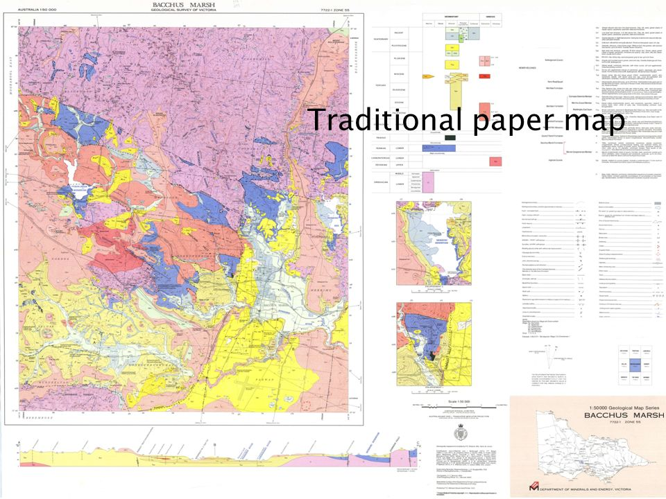 Traditional paper map We are all used to, and comfortable with our traditional representation of data on Geological maps.