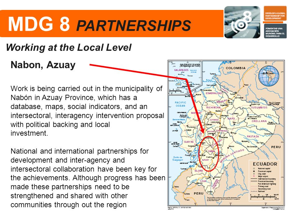 MDG 8 PARTNERSHIPS Working at the Local Level Nabon, Azuay