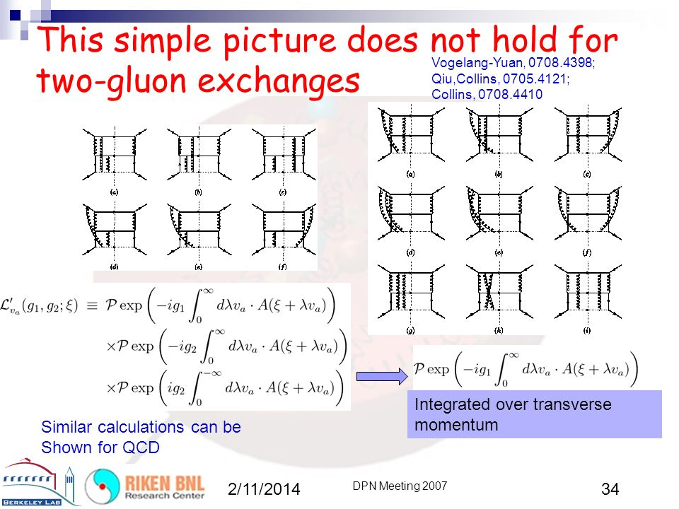 This simple picture does not hold for two-gluon exchanges