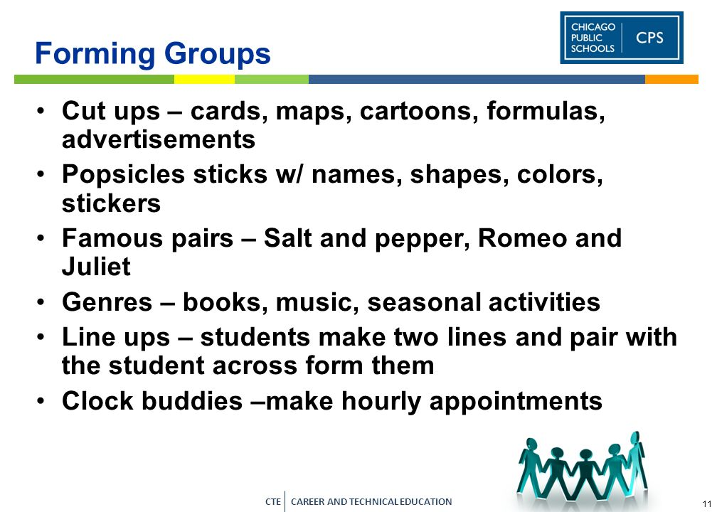 Forming Groups Cut ups – cards, maps, cartoons, formulas, advertisements. Popsicles sticks w/ names, shapes, colors, stickers.