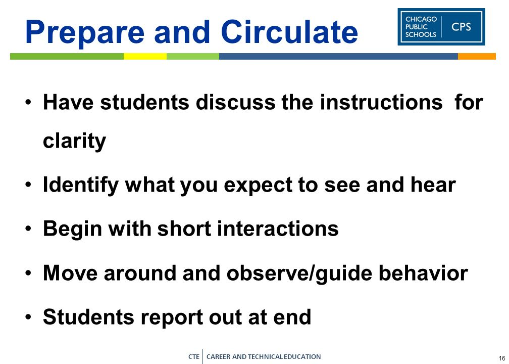 Prepare and Circulate Have students discuss the instructions for clarity. Identify what you expect to see and hear.