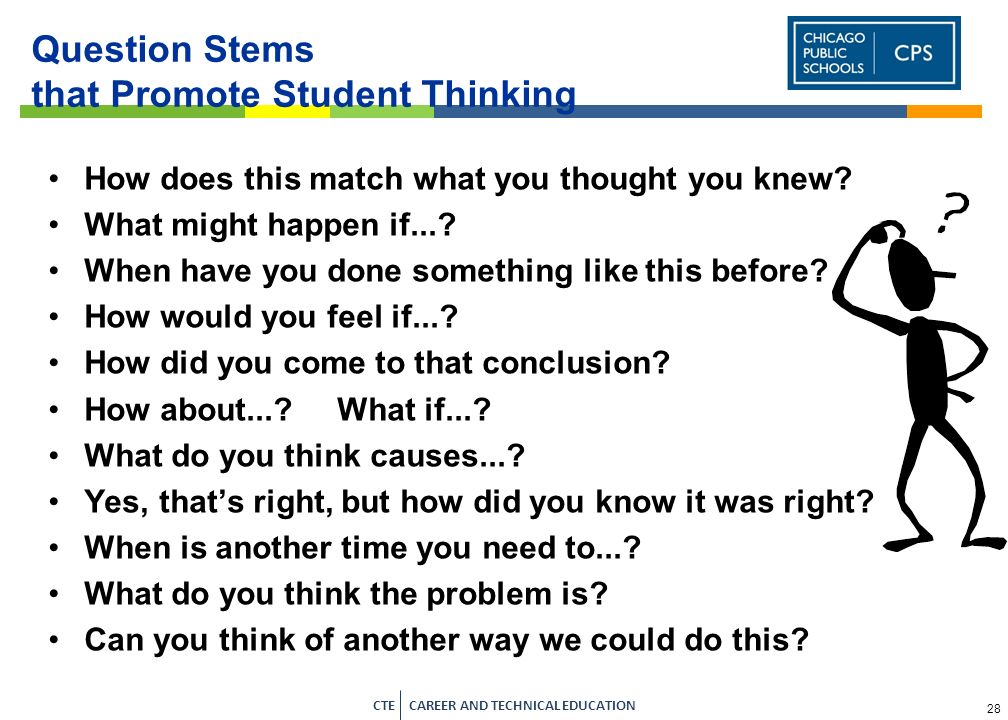 Question Stems that Promote Student Thinking