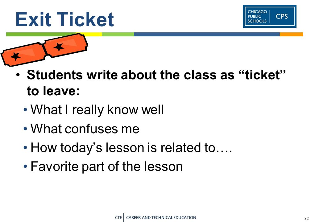 Exit Ticket Students write about the class as ticket to leave: