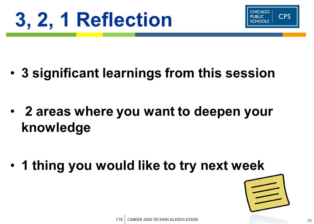 3, 2, 1 Reflection 3 significant learnings from this session
