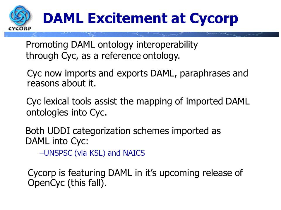 DAML Excitement at Cycorp