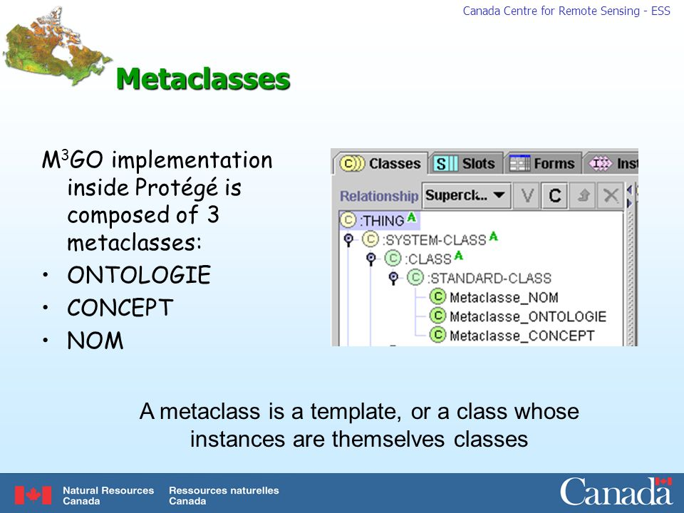 Metaclasses M3GO implementation inside Protégé is composed of 3 metaclasses: ONTOLOGIE. CONCEPT. NOM.