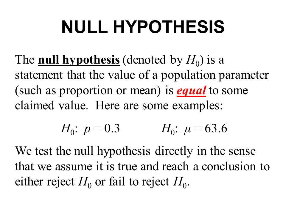 Null hypothesis example youtube.