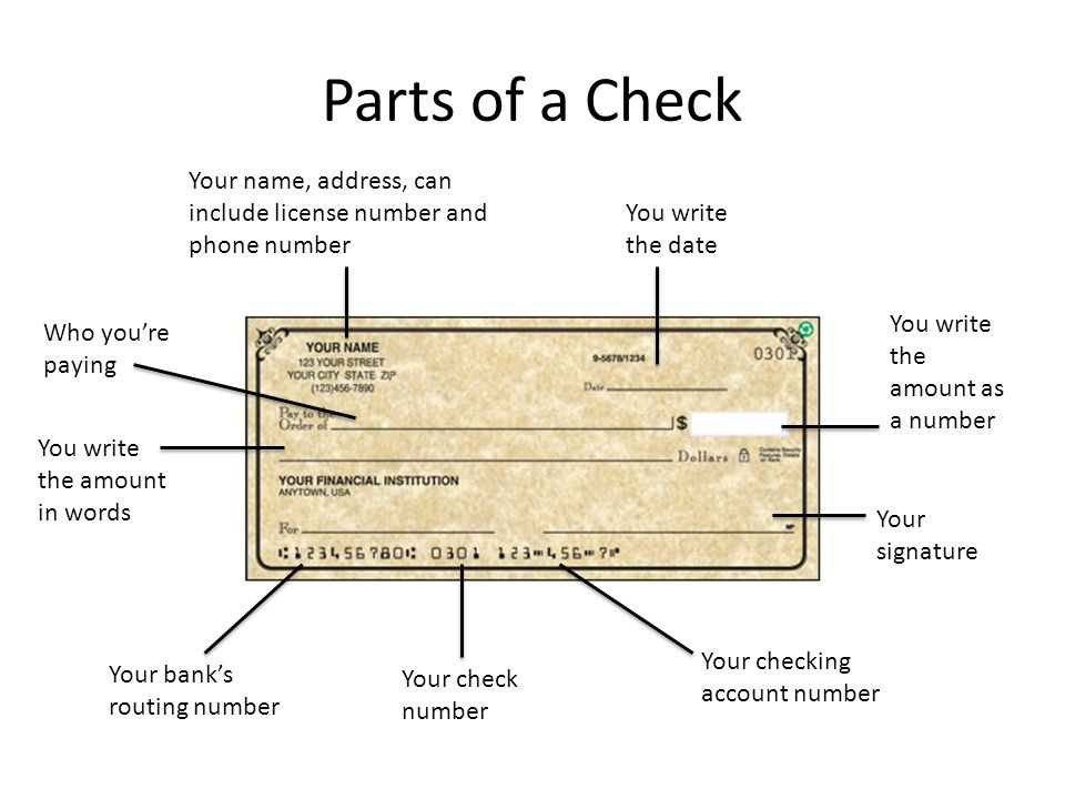 Parts+of+a+Check+Your+name%2C+address%2C+can+include+license+number+and+phone+number.+You+write+the+date. consumer math how to write a check ppt video online download