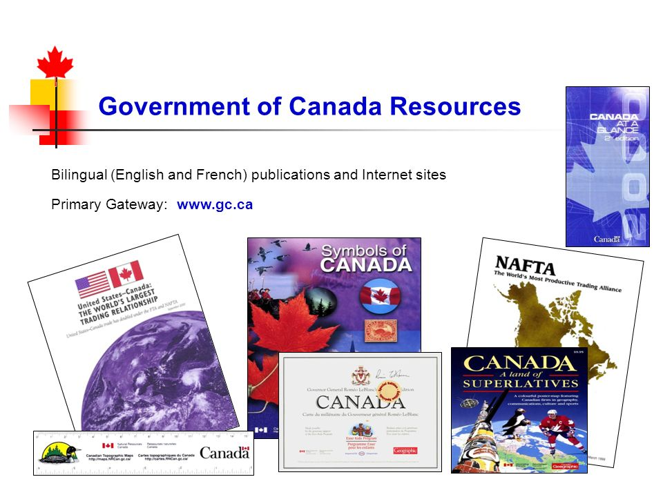 Bilingual (English and French) publications and Internet sites