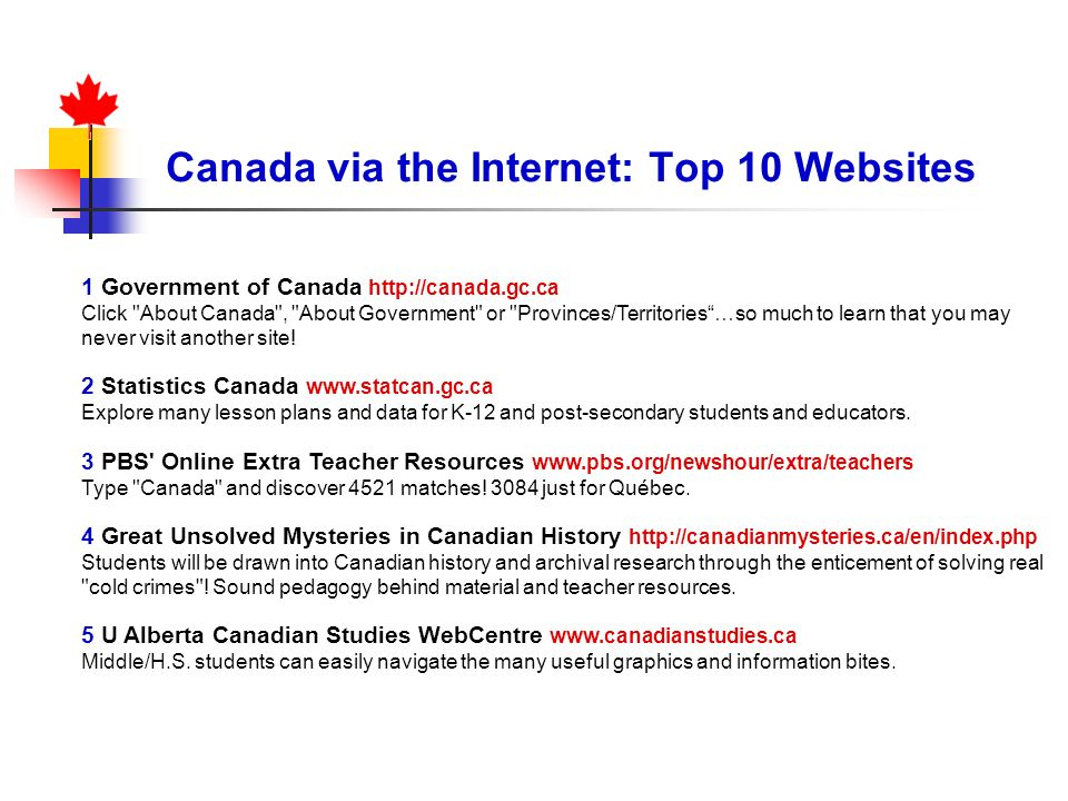 Best practices and resources for teaching about canada ppt download canada via the internet top 10 websites fandeluxe Gallery