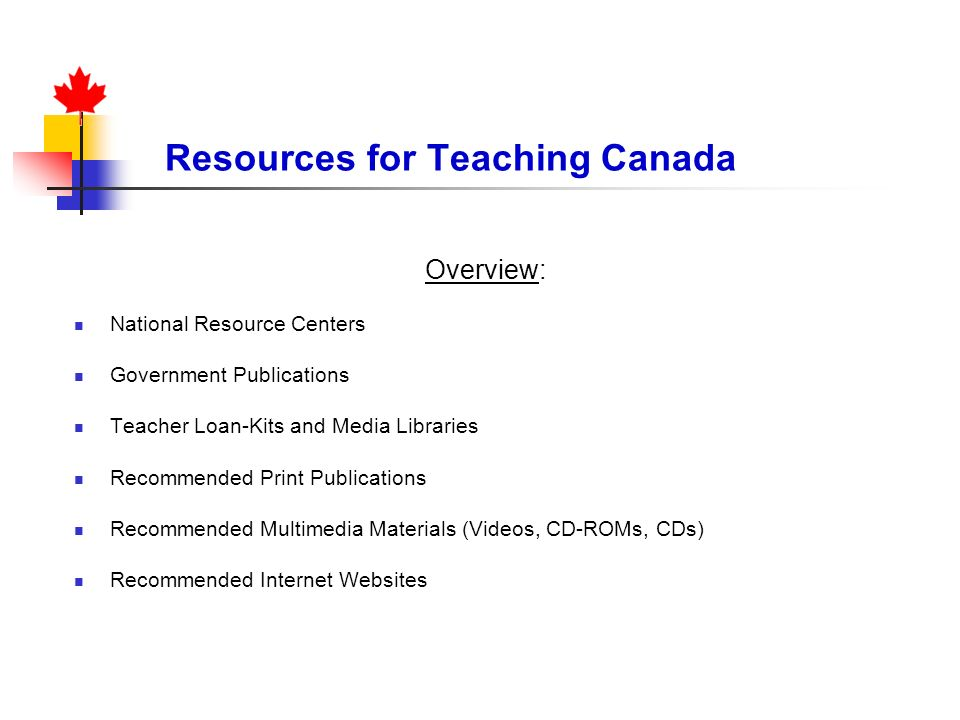 Resources for Teaching Canada